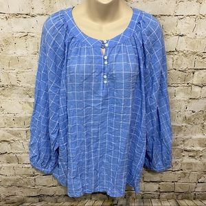 Old Navy Blue Thin 3/4 Sleeve Plaid Popover Top